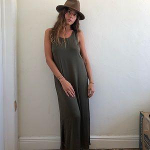 Zara olive Green Silk Maxi Dress